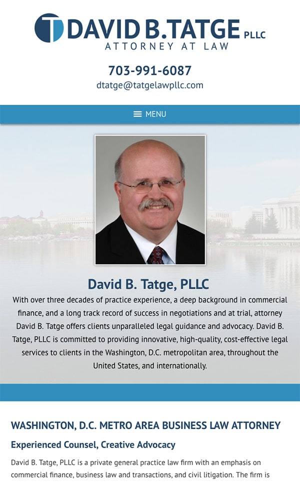 Mobile Friendly Law Firm Webiste for David B. Tatge, PLLC