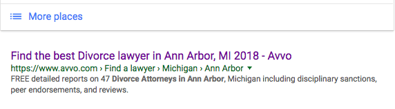"Avvo is number 1 organically for ""best ann arbor divorce attorney"""
