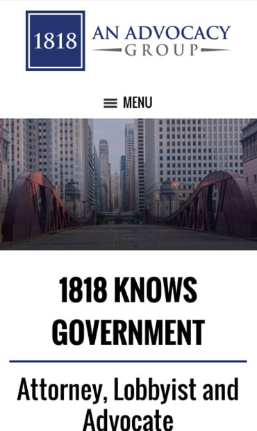 Responsive Mobile Attorney Website for 1818 - An Advocacy Group