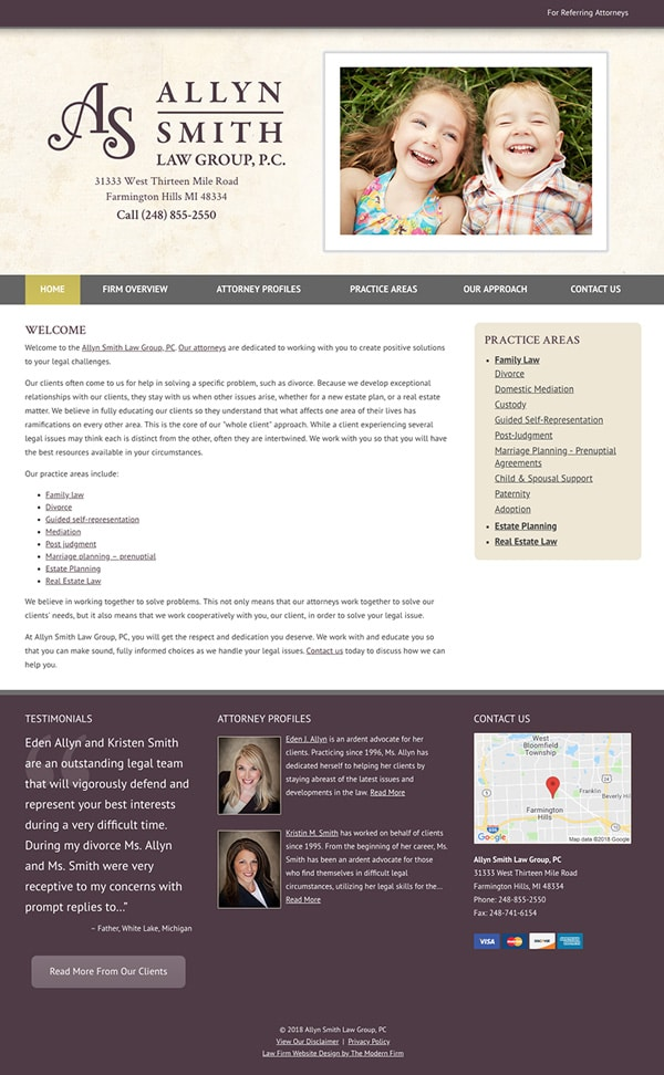 Law Firm Website for Allyn Smith Law Group, PC