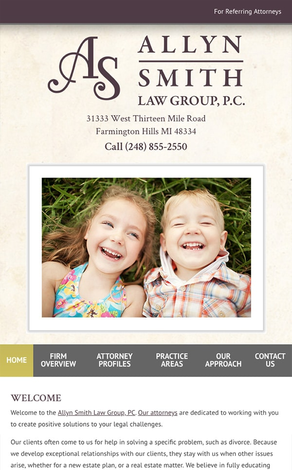 Mobile Friendly Law Firm Webiste for Allyn Smith Law Group, PC