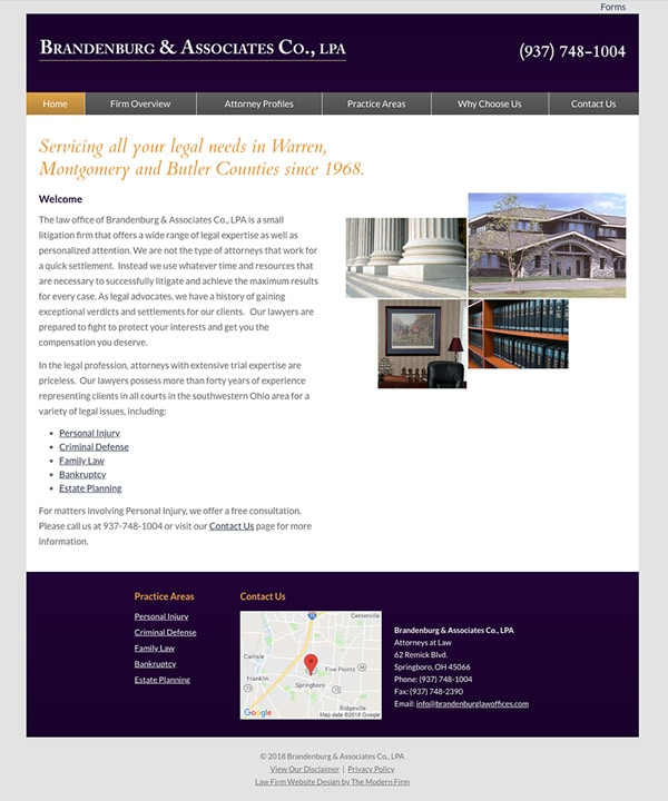 Law Firm Website Design for Brandenburg & Associates Co., LPA