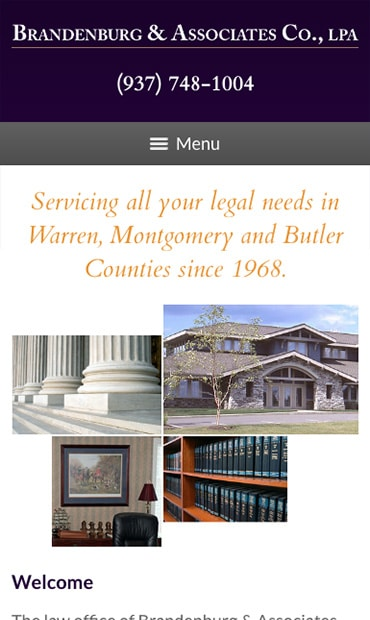 Responsive Mobile Attorney Website for Brandenburg & Associates Co., LPA