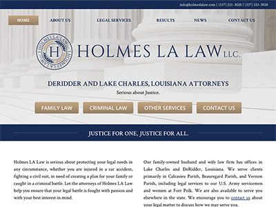 Website Design for Holmes LA Law, LLC