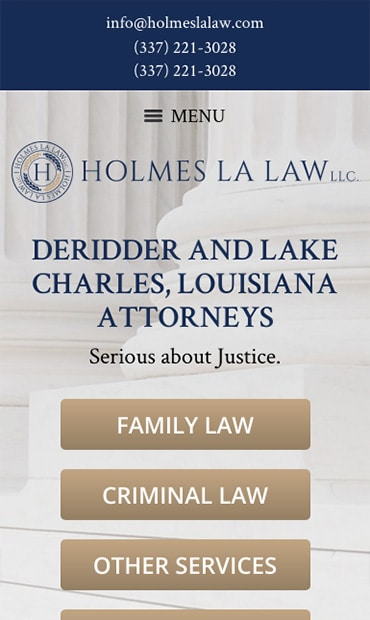 Responsive Mobile Attorney Website for Holmes LA Law, LLC