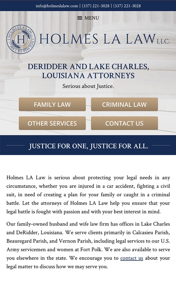 Mobile Friendly Law Firm Webiste for Holmes LA Law, LLC