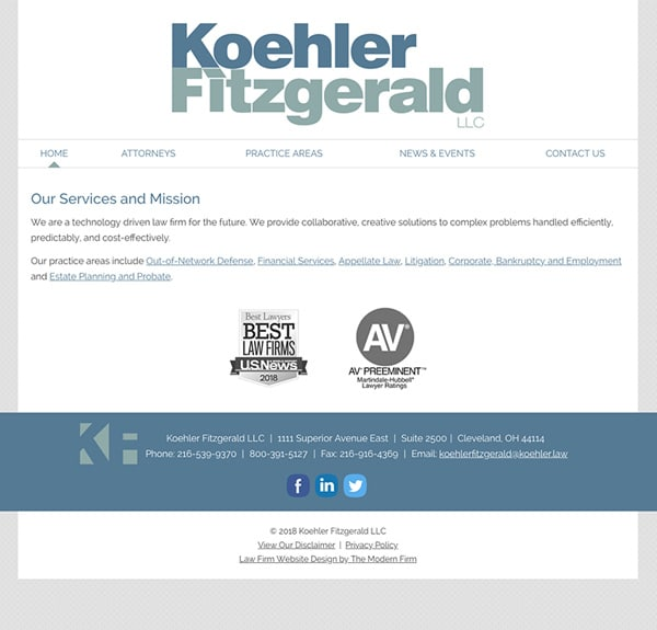 Law Firm Website for Koehler Fitzgerald LLC