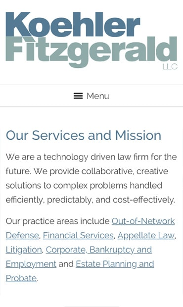 Responsive Mobile Attorney Website for Koehler Fitzgerald LLC