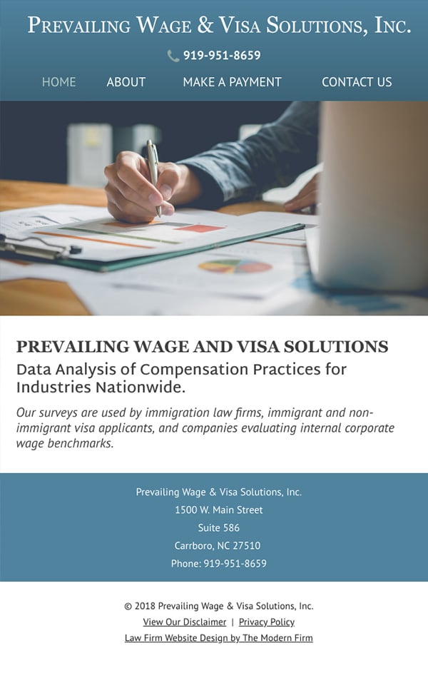 Mobile Friendly Law Firm Webiste for Prevailing Wage & Visa Solutions, Inc.