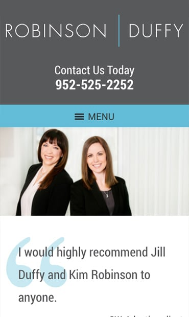 Responsive Mobile Attorney Website for Robinson Duffy