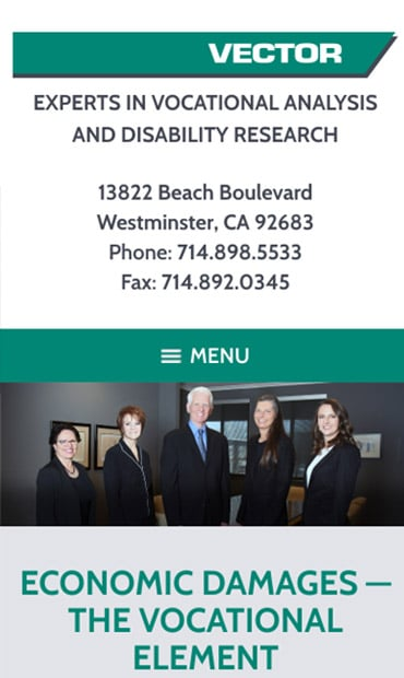 Responsive Mobile Attorney Website for VECTOR, Inc.
