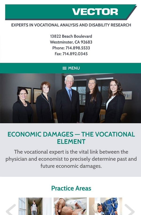Mobile Friendly Law Firm Webiste for VECTOR, Inc.