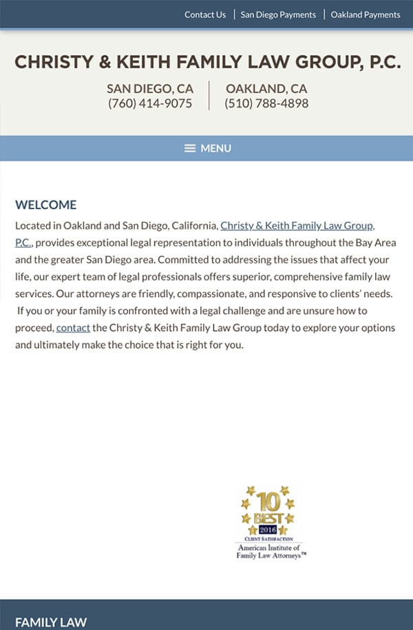 Mobile Friendly Law Firm Webiste for Christy & Keith Family Law Group, P.C.