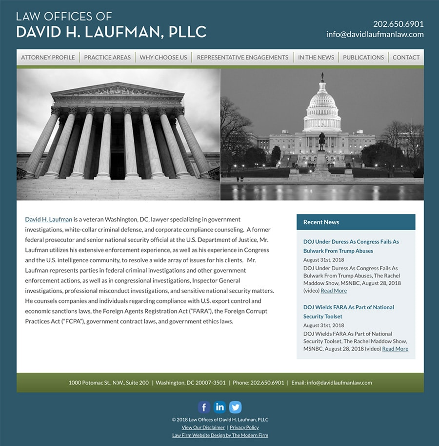 Law Firm Website Design for Law Offices of David H. Laufman, PLLC