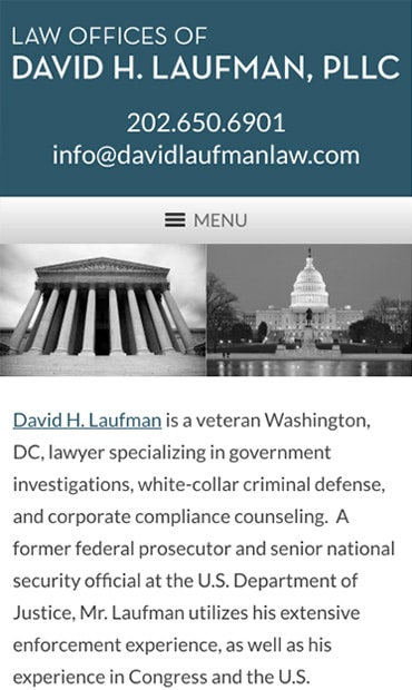 Responsive Mobile Attorney Website for Law Offices of David H. Laufman, PLLC
