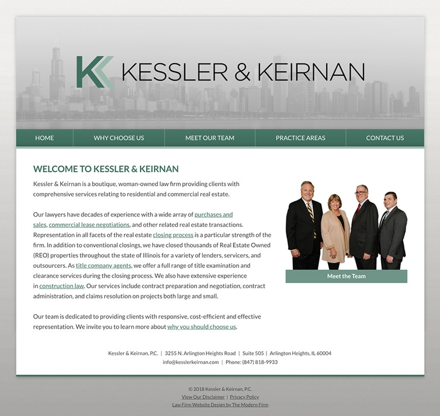 Law Firm Website Design for Kessler & Keirnan, P.C.