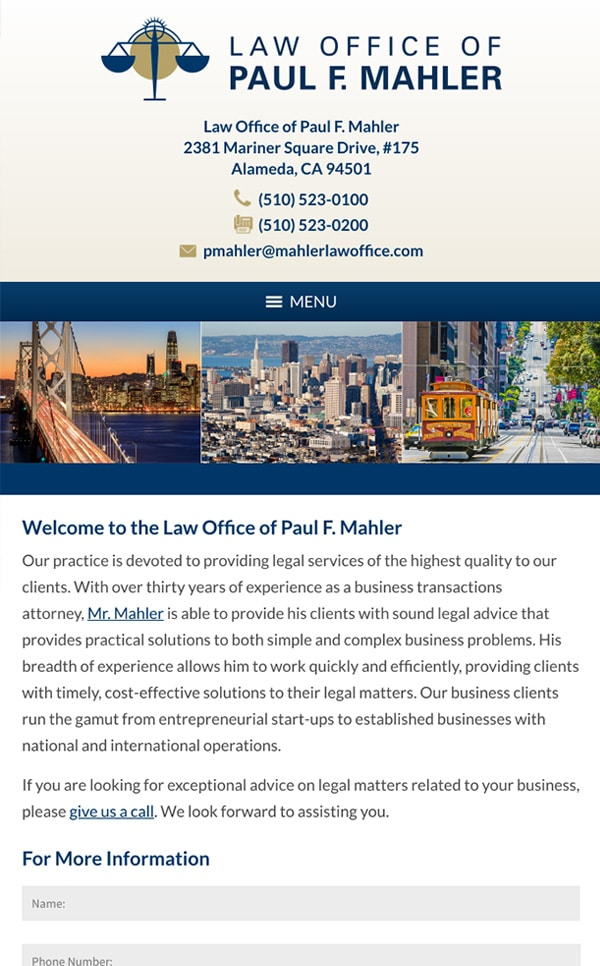 Mobile Friendly Law Firm Webiste for Law Office of Paul F. Mahler