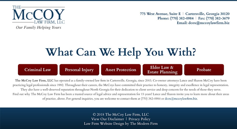 Law Firm Website Design for The McCoy Law Firm, LLC
