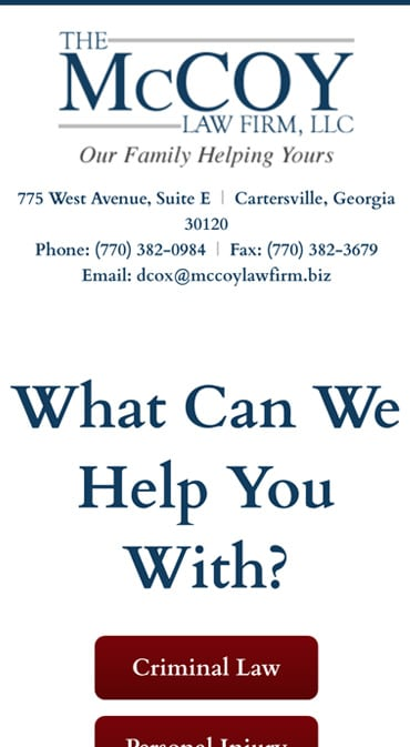 Responsive Mobile Attorney Website for The McCoy Law Firm, LLC