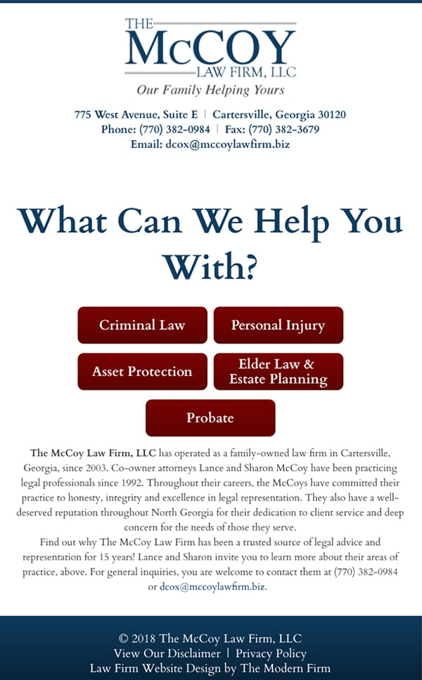 Mobile Friendly Law Firm Webiste for The McCoy Law Firm, LLC