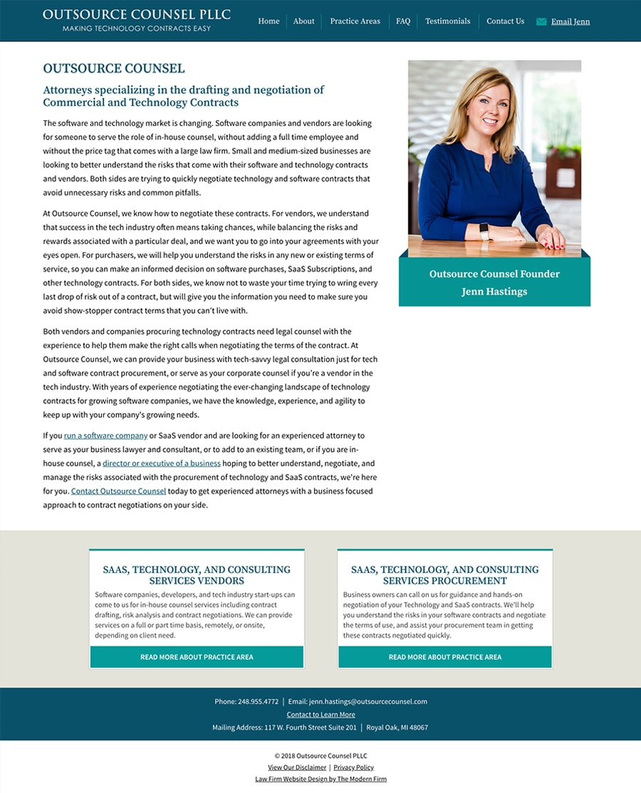 Law Firm Website Design for Outsource Counsel PLLC