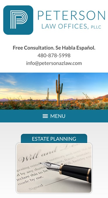 Responsive Mobile Attorney Website for Peterson Law Offices, PLLC