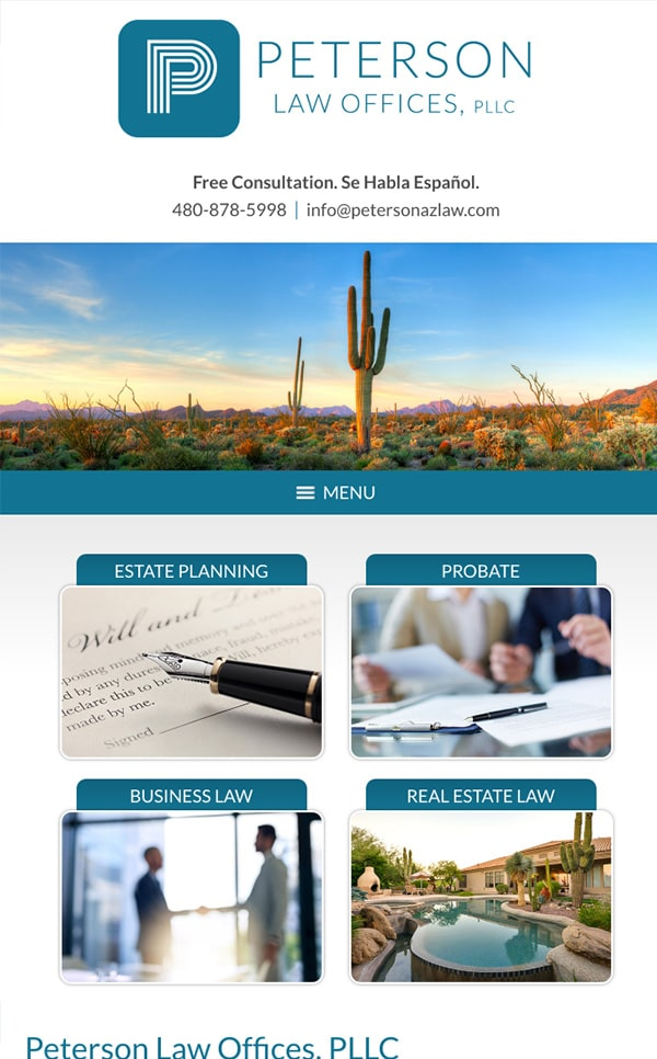 Mobile Friendly Law Firm Webiste for Peterson Law Offices, PLLC