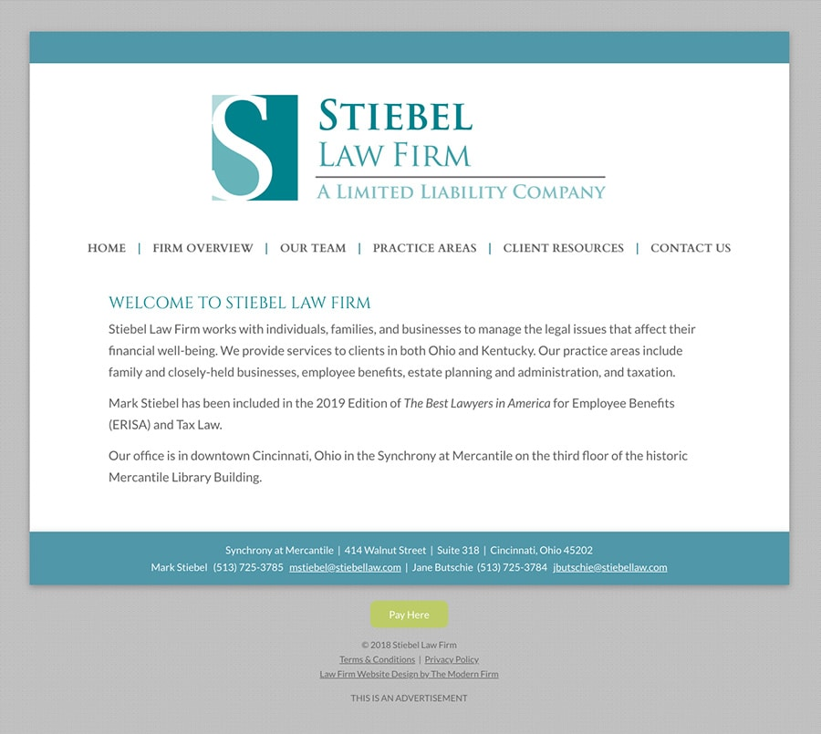 Law Firm Website Design for Stiebel Law Firm