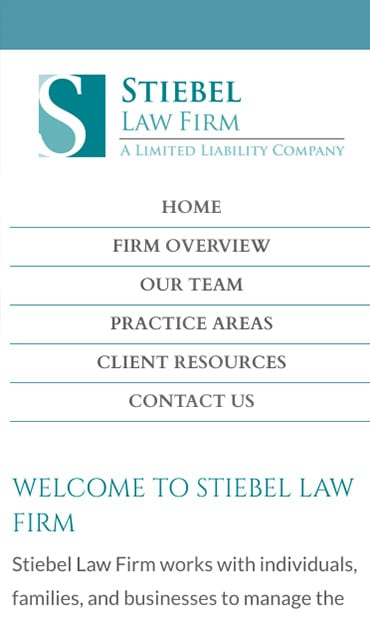Responsive Mobile Attorney Website for Stiebel Law Firm