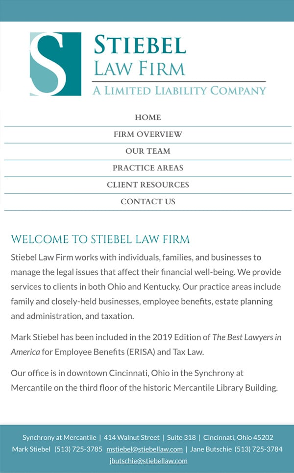 Mobile Friendly Law Firm Webiste for Stiebel Law Firm
