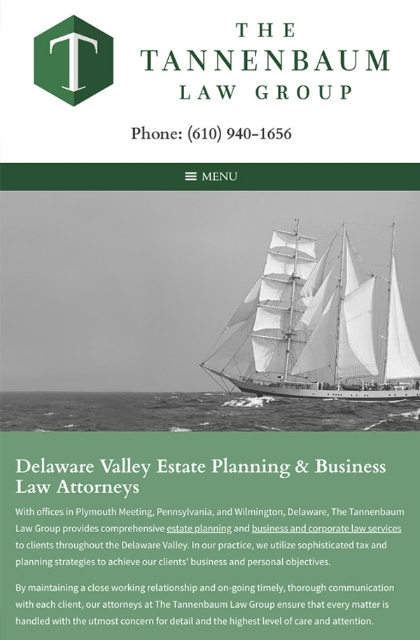 Mobile Friendly Law Firm Webiste for The Tannenbaum Law Group, LLC