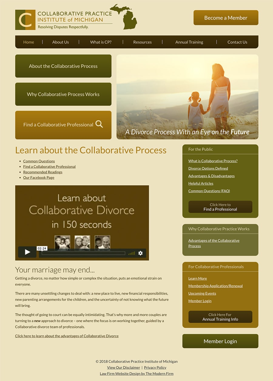 Law Firm Website Design for Collaborative Practice Institute of Michigan