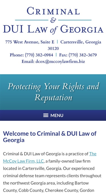 Responsive Mobile Attorney Website for Criminal & DUI Law of Georgia