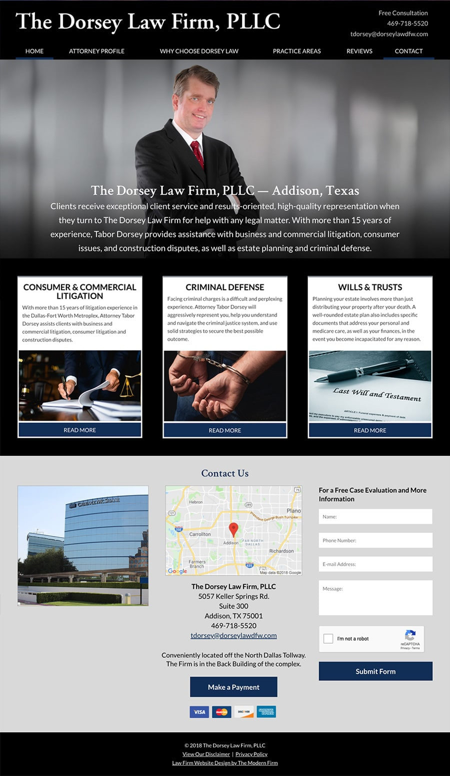 Law Firm Website for The Dorsey Law Firm, PLLC
