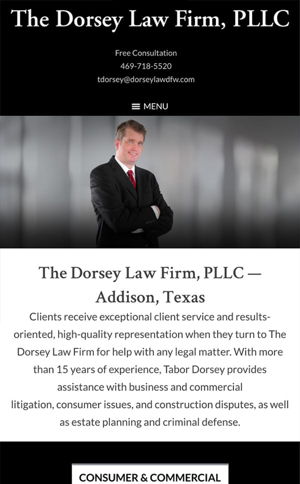 Mobile Friendly Law Firm Webiste for The Dorsey Law Firm, PLLC