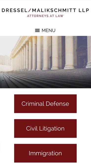 Responsive Mobile Attorney Website for Dressel/Malikschmitt LLP