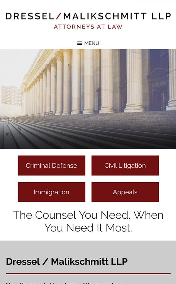 Mobile Friendly Law Firm Webiste for Dressel/Malikschmitt LLP