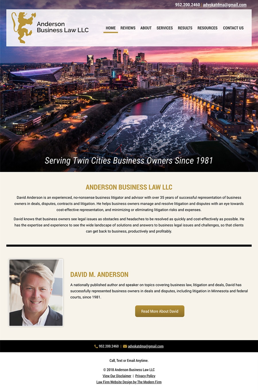Law Firm Website Design for Anderson Business Law LLC