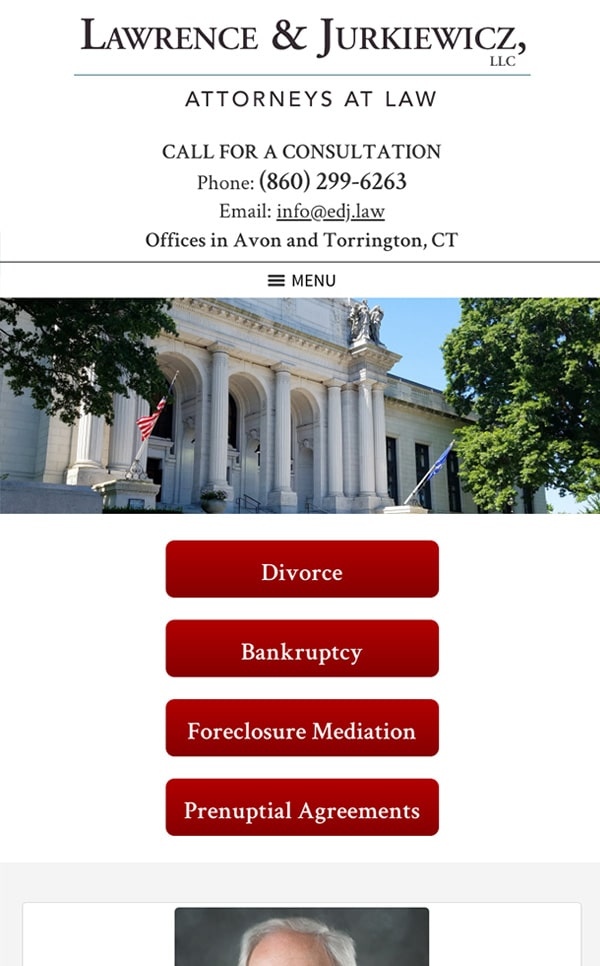 Mobile Friendly Law Firm Webiste for Lawrence & Jurkiewicz, LLC
