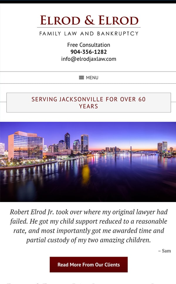 Mobile Friendly Law Firm Webiste for Elrod & Elrod, P.A.