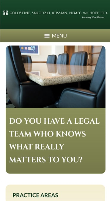 Responsive Mobile Attorney Website for Goldstine, Skrodzki, Russian, Nemec and Hoff, Ltd.