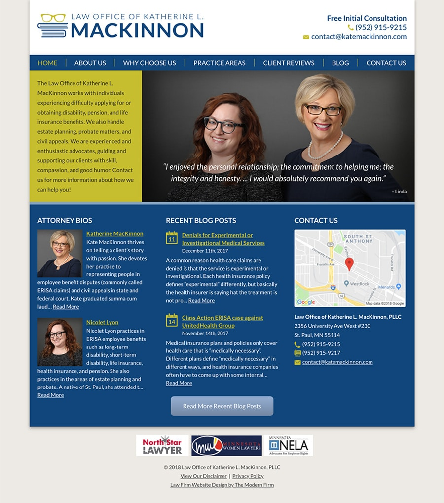 Law Firm Website Design for Law Office of Katherine L. MacKinnon, PLLC