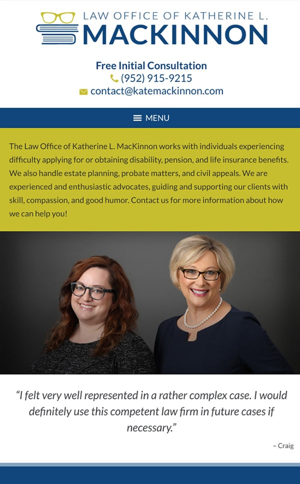 Mobile Friendly Law Firm Webiste for Law Office of Katherine L. MacKinnon, PLLC