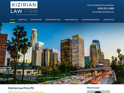 Law Firm Website design for Kizirian Law Firm, P.C.