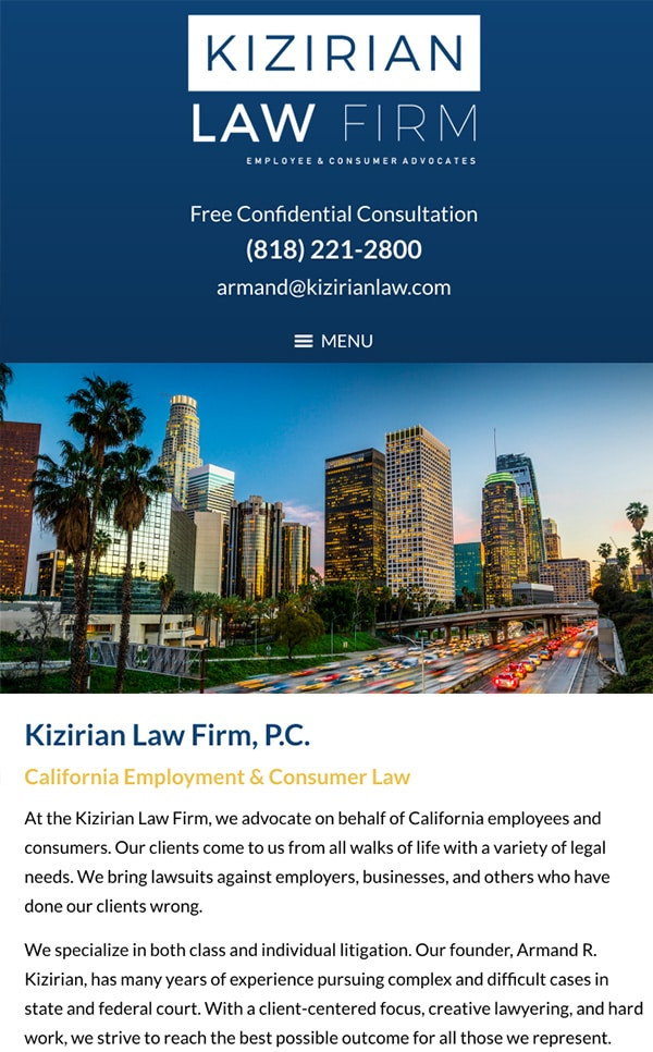 Mobile Friendly Law Firm Webiste for Kizirian Law Firm, P.C.