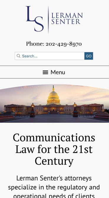 Responsive Mobile Attorney Website for Lerman Senter PLLC