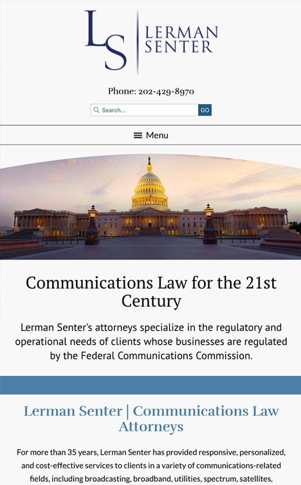 Mobile Friendly Law Firm Webiste for Lerman Senter PLLC