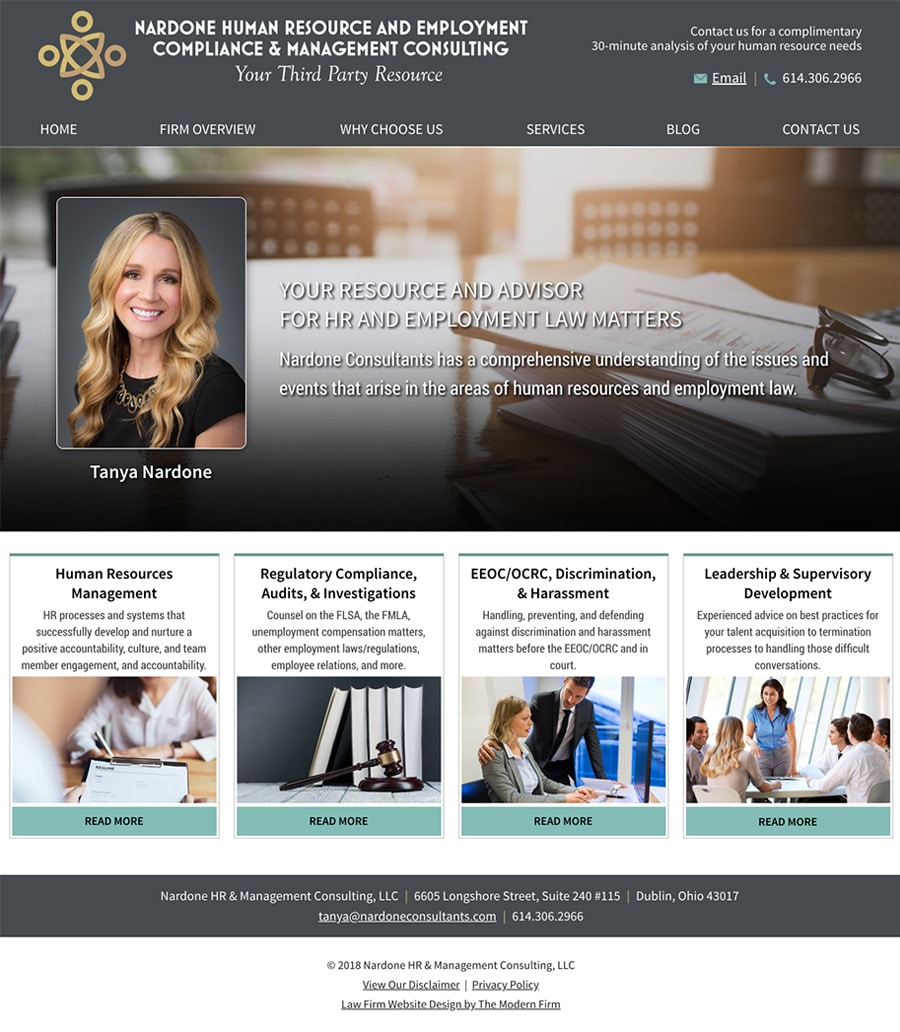 Law Firm Website Design for Nardone HR & Management Consulting, LLC