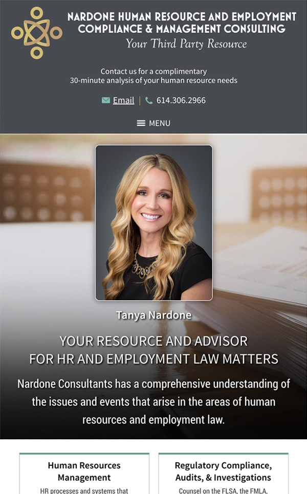 Mobile Friendly Law Firm Webiste for Nardone HR & Management Consulting, LLC