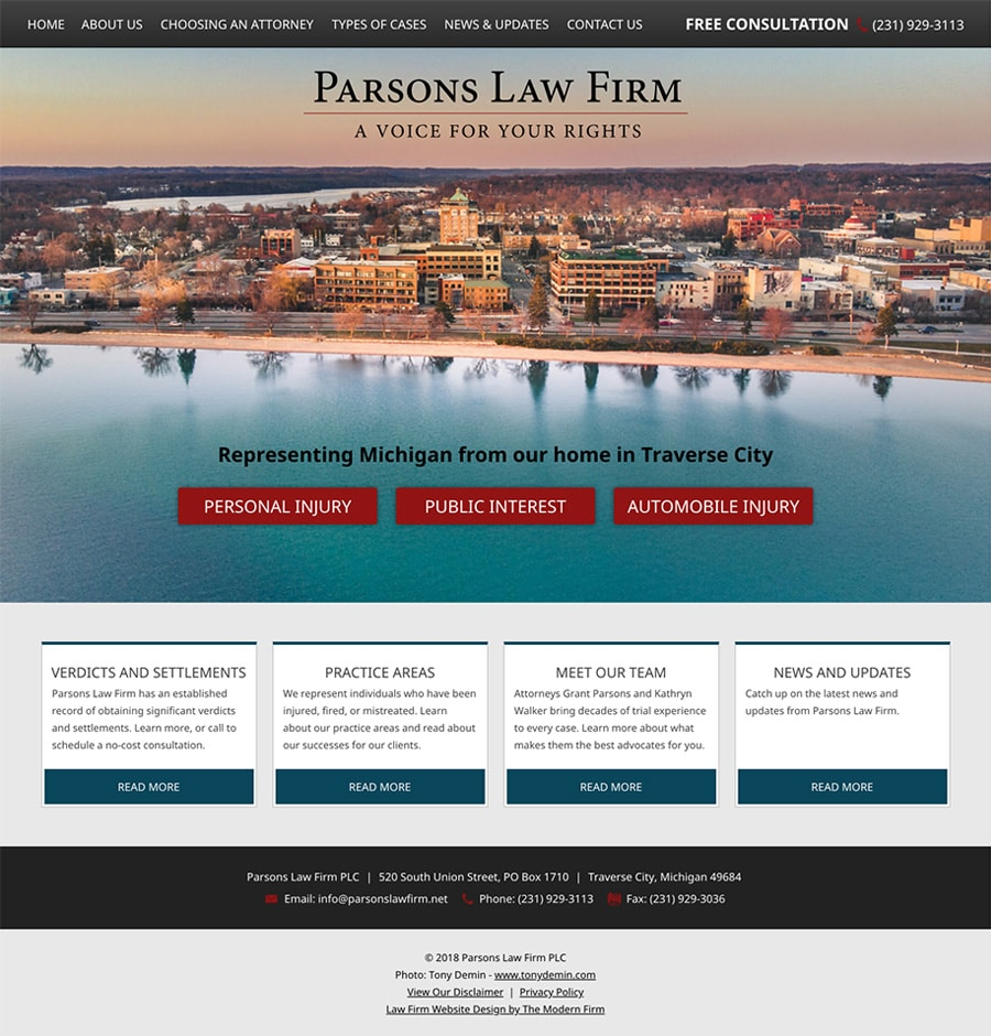 Law Firm Website Design for Parsons Law Firm PLC